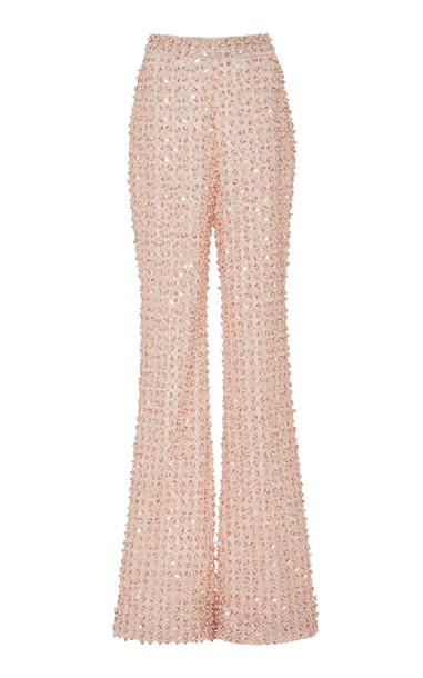 Pamella Roland Pearl And Sequin Embroidered Straight-Leg Silk Pants Si in pink