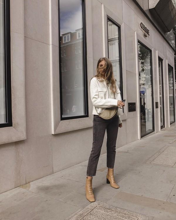 jacket cropped jacket black jeans ankle boots white t-shirt belt bag