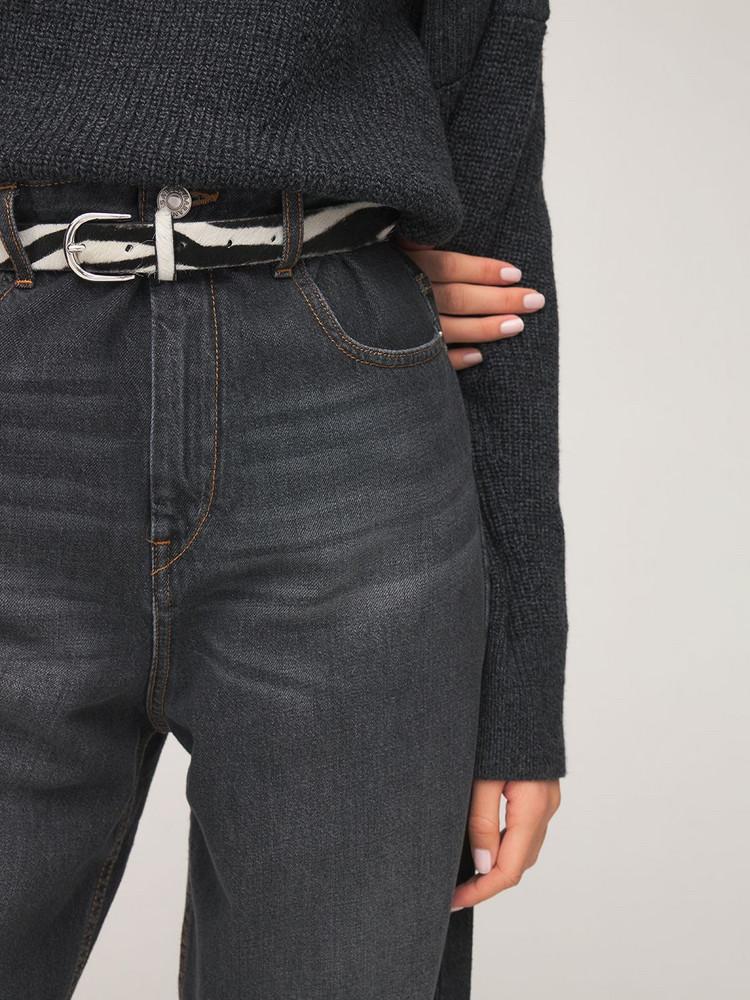 ISABEL MARANT 4cm Zap Zebra Print Leather Belt in black / white