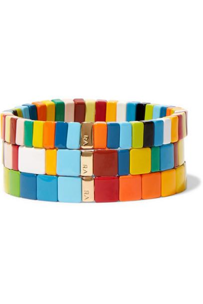 Roxanne Assoulin - Rainbow Brite Set Of Three Enamel Bracelets - Blue