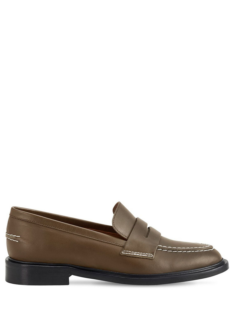 ATP ATELIER 10mm Monti Leather Loafers in khaki