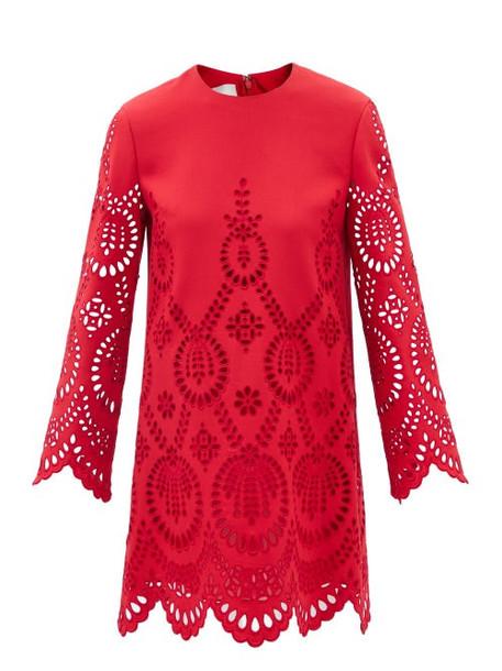 Valentino - Cutout Wool-blend Dress - Womens - Red