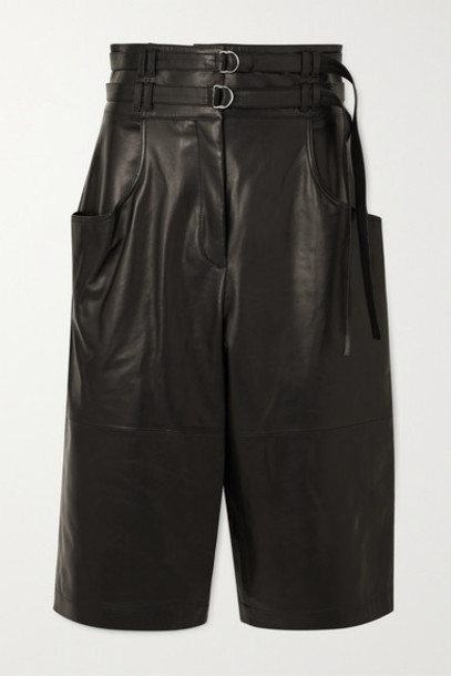 Proenza Schouler - Belted Leather Shorts - Black