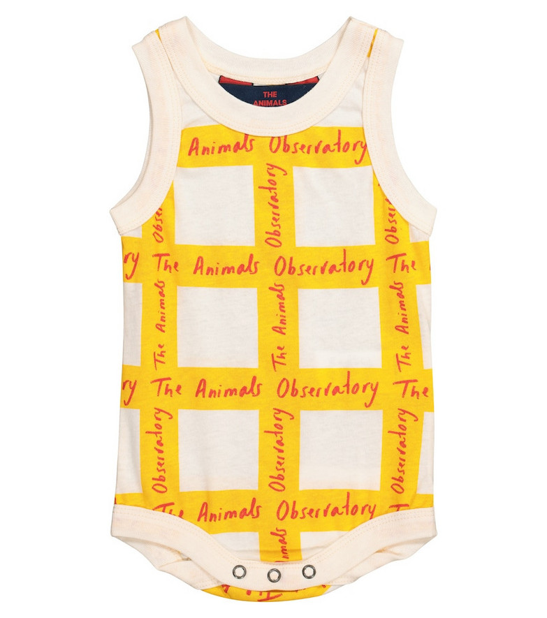 The Animals Observatory Baby Turtle checked cotton bodysuit in yellow
