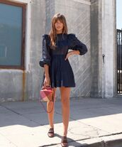 dress,navy dress,mini dress,long sleeve dress,loafers,handbag,boxed bag