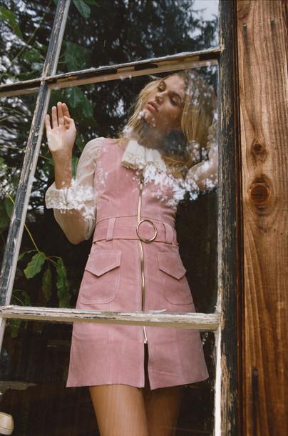 dress pink dress vintage zipper dress pink