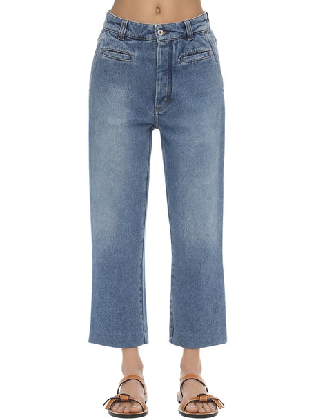 LOEWE Wide Leg Fisherman Cotton Denim Jeans