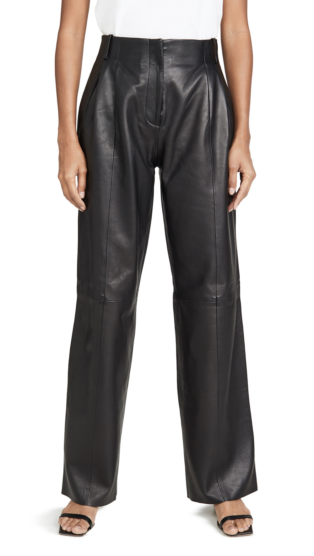 VEDA Bess Leather Trousers in black