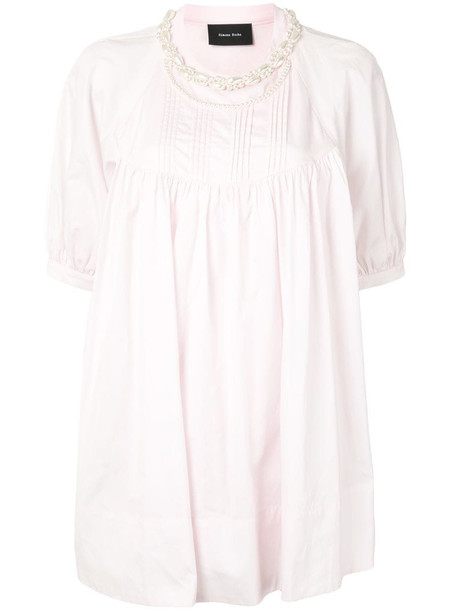 Simone Rocha faux-pearl detail flared blouse in pink
