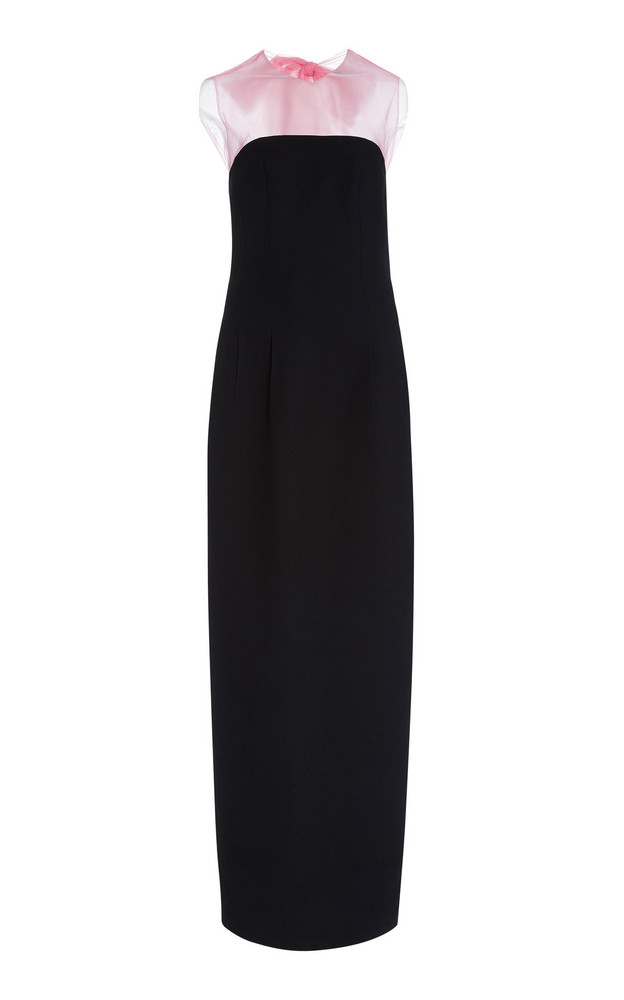 Rasario Bow-Embellished Tulle-Crepe Maxi Dress in black