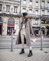 coat,plaid coat,double breasted,long coat,plaid,black boots,lace up boots,tracksuit,black leather jacket,black beanie,handbag