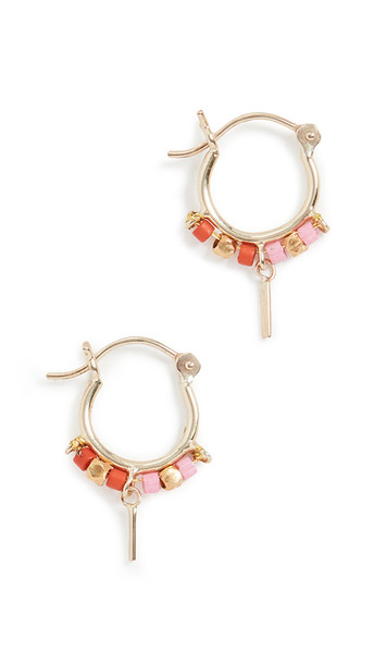Scosha 10k Mini Trinket Hoop Earrings in gold / pink / red