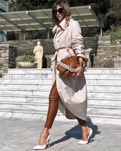 pants,leather pants,pumps,trench coat,brown bag