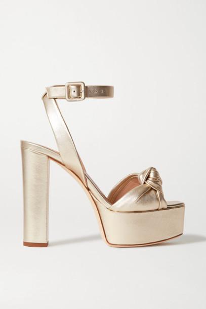 Giuseppe Zanotti - Knotted Metallic Leather Platform Sandals - Gold