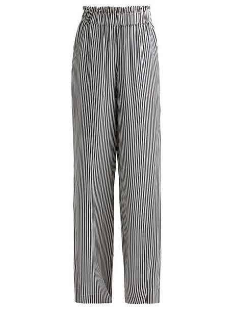 Asceno - Striped Paperbag Waist Sandwashed Silk Trousers - Womens - Black Stripe