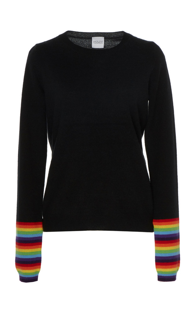 Madeleine Thompson Erebus Striped-Accented Cashmere Top in black