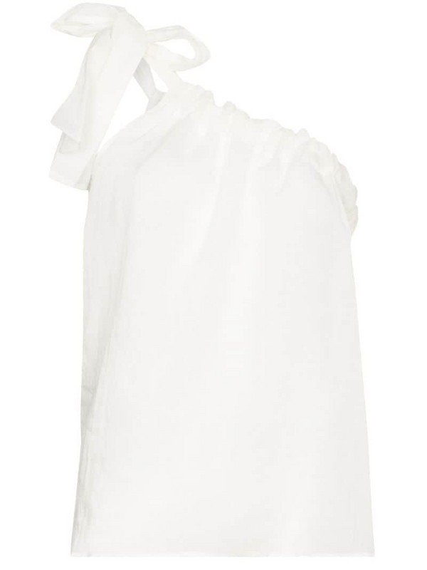 St. Agni Lulu one shoulder ramie top in white