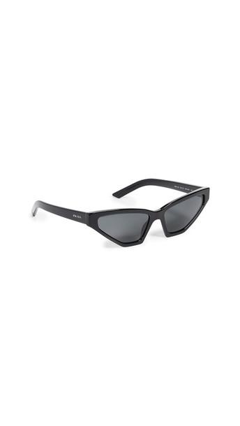 Prada PR 12VS Millennial Narrow Cat Eye Sunglasses in black