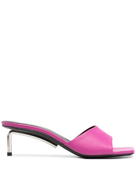 Off-White square-toe leather mules in pink
