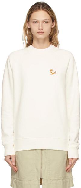 Maison Kitsuné Maison Kitsuné Off-White Chillax Fox Patch Classic Sweatshirt in ecru