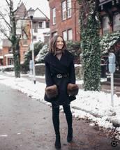 coat,wool coat,gucci belt,over the knee boots,black boots,tights,black skirt,turtleneck sweater