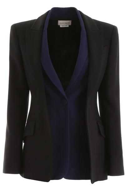 Alexander McQueen Bicolor Double Jacket in black