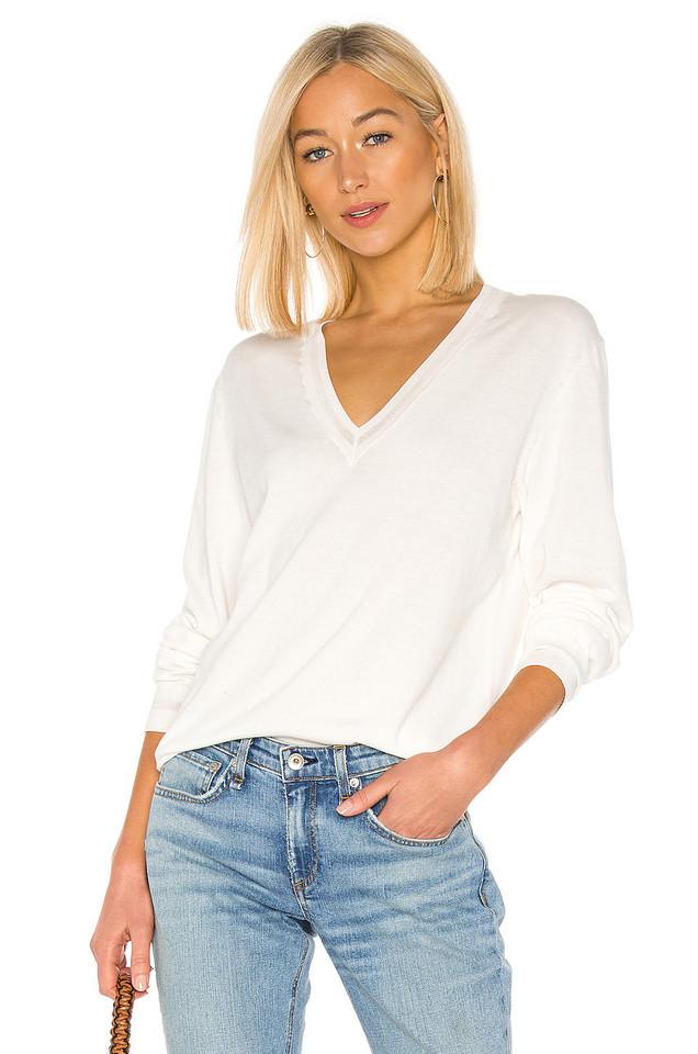 rag & bone/JEAN Kento V Neck Sweater in white