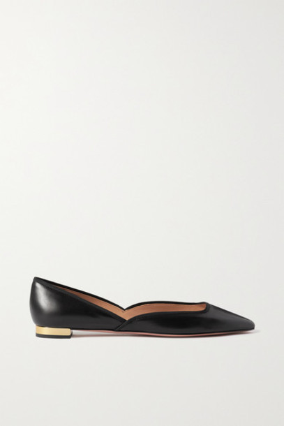 Aquazzura - Maia Grosgrain-trimmed Leather Ballet Flats - Black