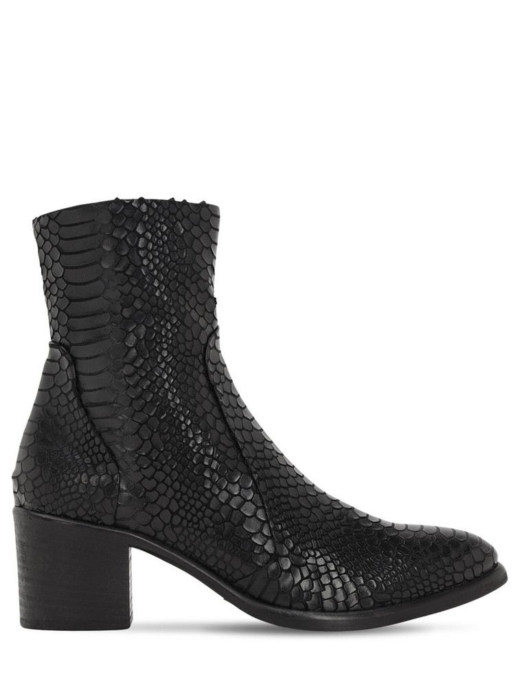 STRATEGIA 50mm Python Embossed Leather Boots in black