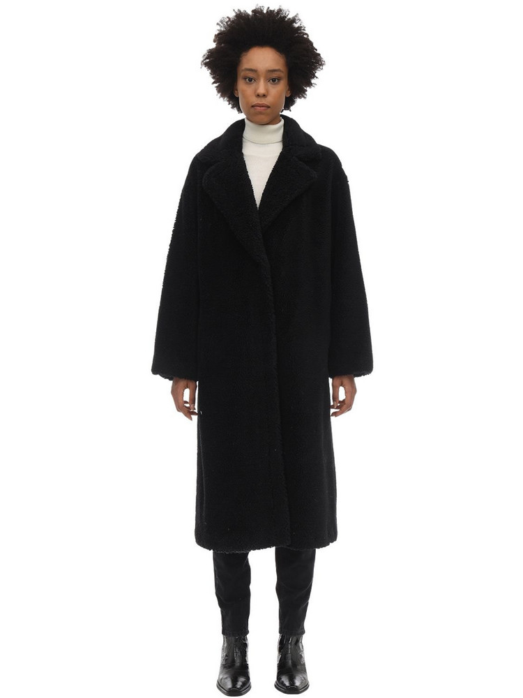 STAND Maria Teddy Faux Fur Midi Coat in black