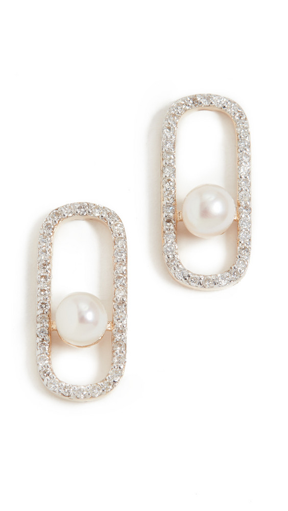 Mateo 14k Diamond Pearl Track Earrings in gold / yellow