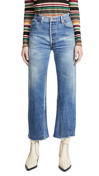 RE/DONE High Rise Wide Leg Crop Jeans in indigo