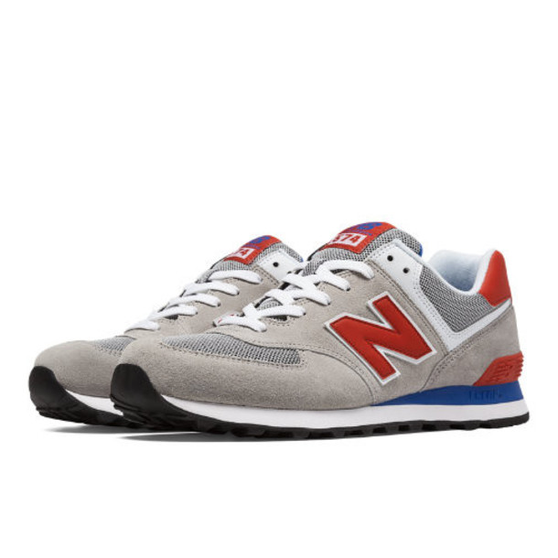 574 New Balance Men's 574 Shoes - Light Grey, Red, Blue (ML574MOX)