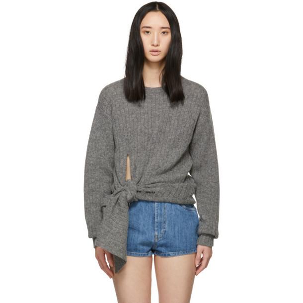 Miu Miu Grey Wool Pullover Sweater