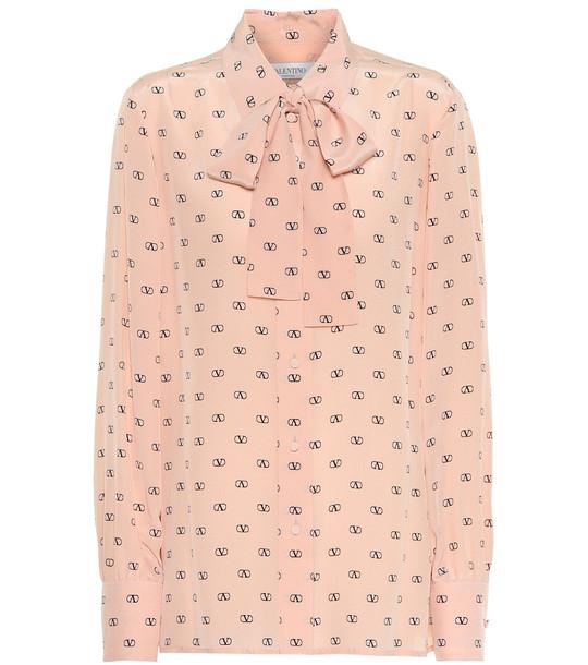 Valentino VLOGO printed silk blouse in pink