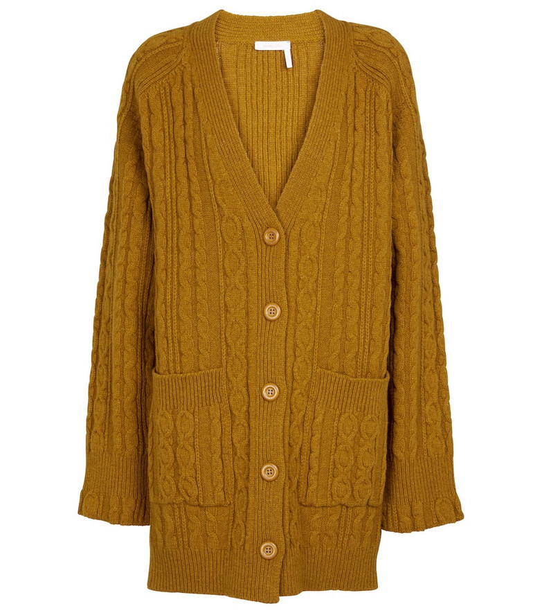 See By Chloé Cable-knit wool-blend cardigan in brown