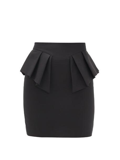 Alexandre Vauthier - Peplum-waist Cotton Mini Skirt - Womens - Black