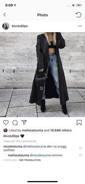coat,black jacket,long