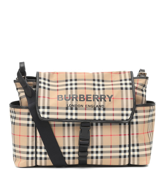 Burberry Kids Check nylon changing bag in beige