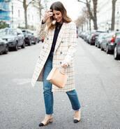 coat,plaid,double breasted,slingbacks,cropped jeans,straight jeans,sweater,handbag