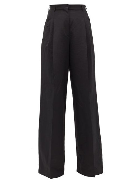 Rochas - Pleated-front Wide-leg Trousers - Womens - Black
