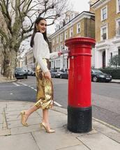 skirt,sequin skirt,gold shoes,high heel pumps,midi skirt,gold skirt,white sweater,gold earrings