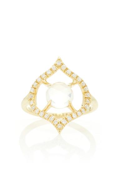 ARK Nectar 18K Gold Diamond And Moonstone Ring Size: 4