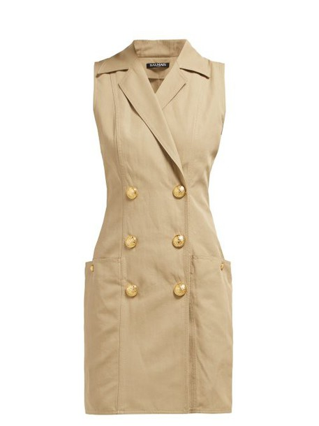 Balmain - Sleeveless Double Breasted Poplin Dress - Womens - Beige