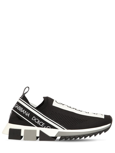 DOLCE & GABBANA 15mm Sorrento Knit Sneakers in black / white