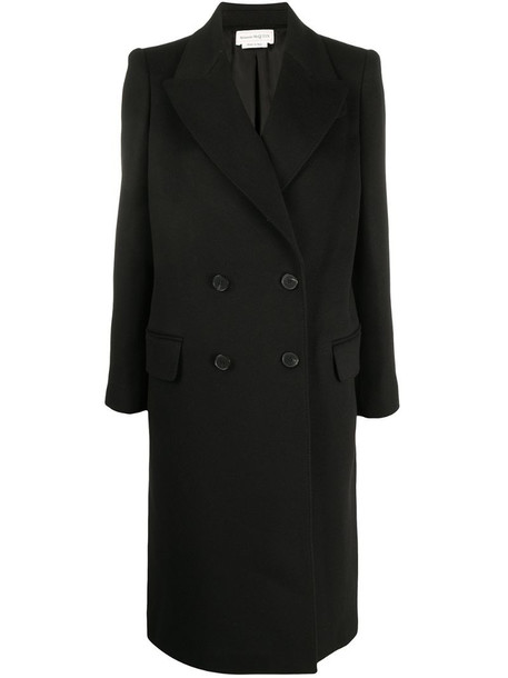 Alexander McQueen cashmere-wool blend double breasted tailored coat in black