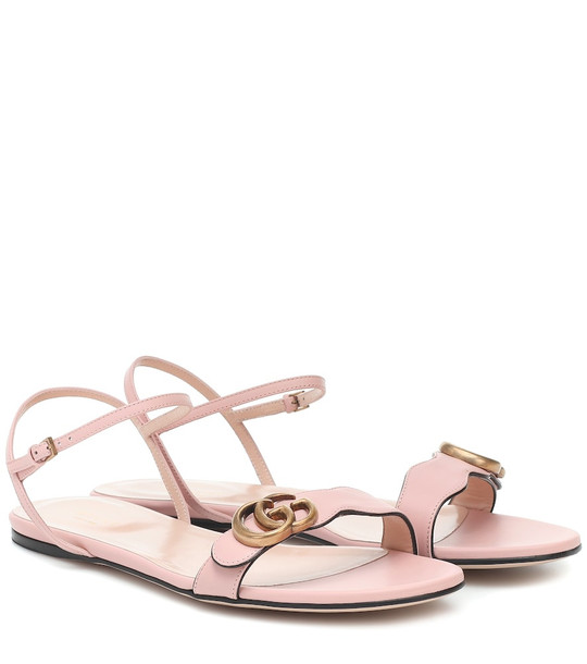 Gucci Marmont leather sandals in pink