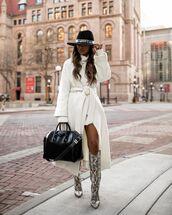 shoes,knee high boots,snake print,white coat,white dress,black bag,hat