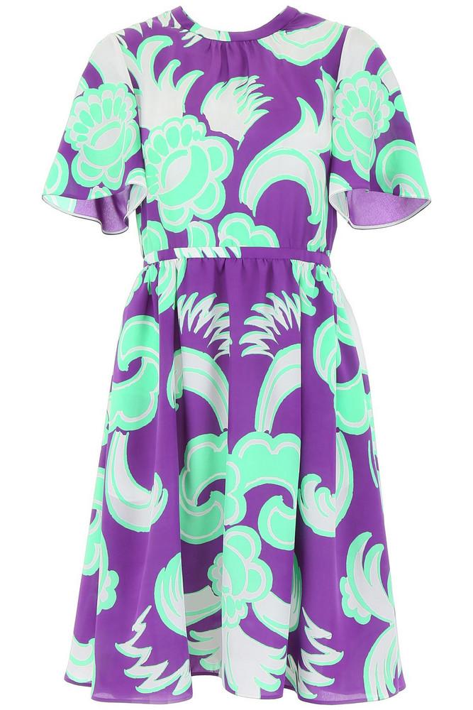 Valentino Midi Silk Dress in lilac / bianco