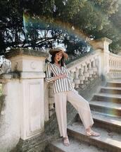 jacket,blazer,stripes,wide-leg pants,white sandals,hat